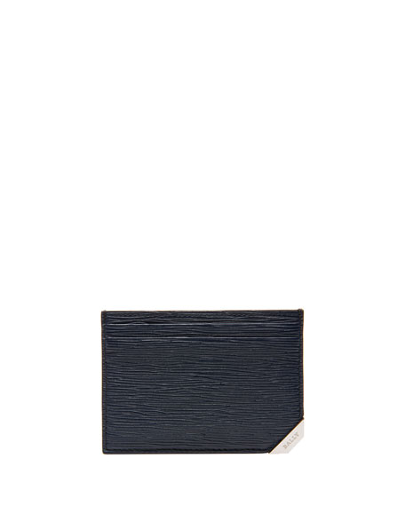 Bally Bhar Leather Card Case, Blue