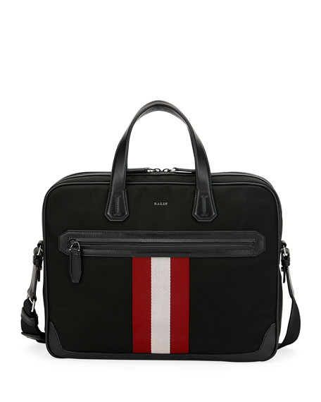 Bally Chandos Leather-Trim Briefcase
