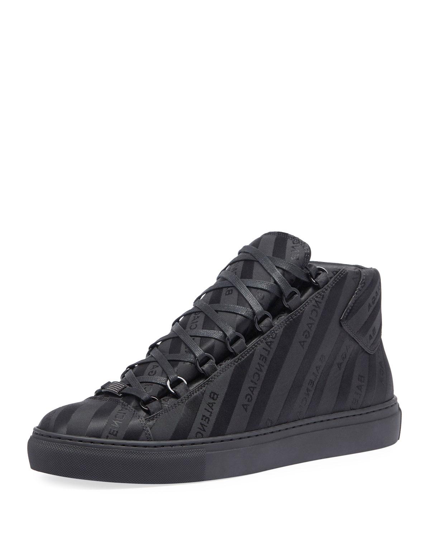 8442da4fcc48 Balenciaga Men s Arena Striped Leather Mid-Top Sneaker