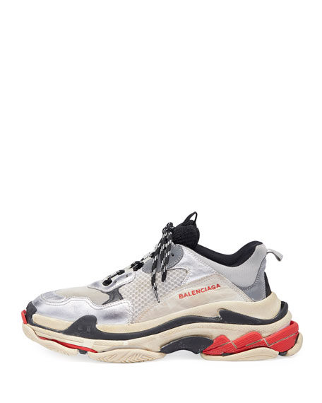 Men's Triple S Mesh & Leather Sneakers