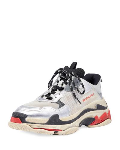 Men's Triple S Mesh & Leather Sneakers