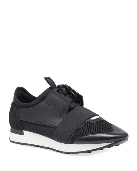 Balenciaga Men's Race Runner Mesh & Leather Sneaker