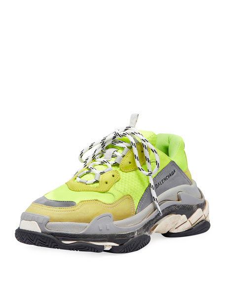 Triple S Mesh & Leather Sneaker, Yellow