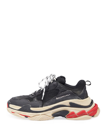 Triple S Mesh & Leather Trainer Sneaker, Black