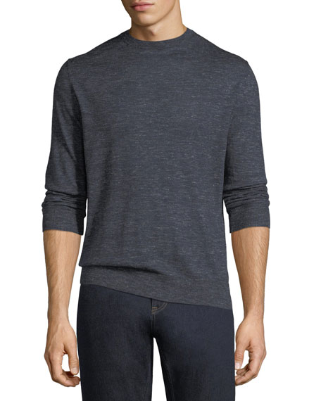 Ermenegildo Zegna Cashmere-Silk Heathered-Knit Crewneck Sweater