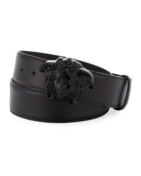 Leather Medusa Buckle Belt