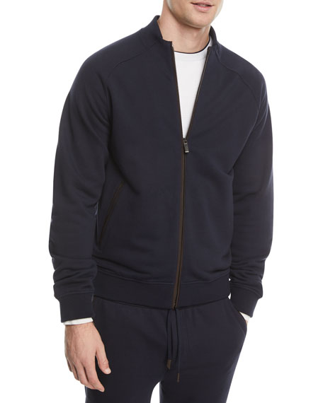 Ermenegildo Zegna Zip-Front Cotton-Blend Sweatshirt