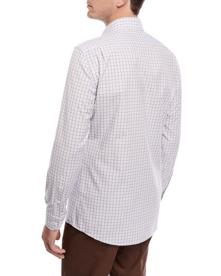 Grid-Print Woven Sport Shirt