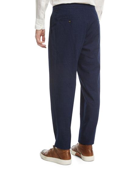Drawstring-Waist Denim Pants