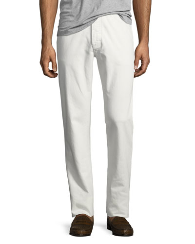 Solid Denim Straight-Leg Jeans, White