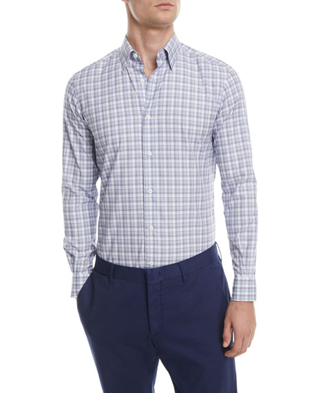Ermenegildo Zegna Large-Check Cotton Sport Shirt