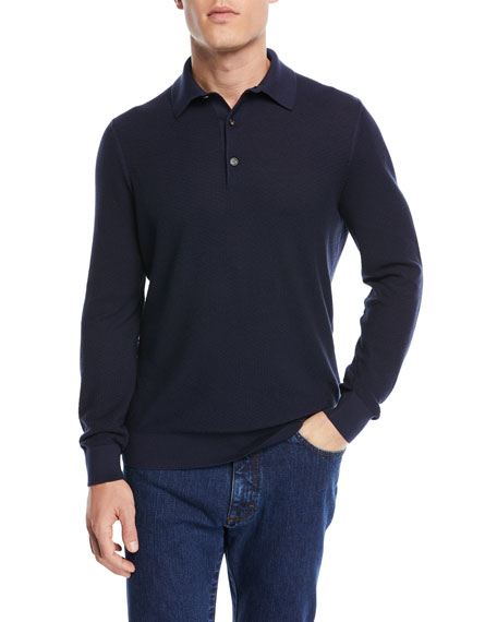 Jacquard Long-Sleeve Polo Shirt