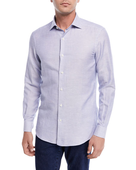 Ermenegildo Zegna Band-Collar Cotton-Linen Shirt, Light Blue