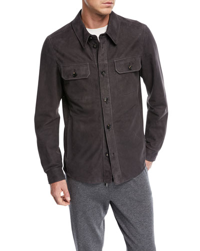 Perforated Leather Shirt Jacket