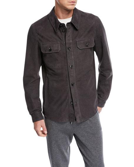 Perforated Leather Shirt Jacket