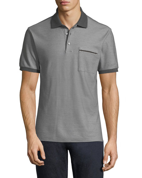 Contrast-Trim Pique Polo Shirt, Gray