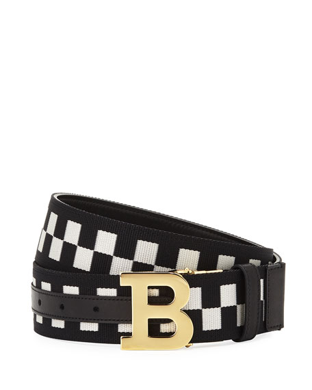 Bally Mirror B Reversible Check-Leather Belt, Black
