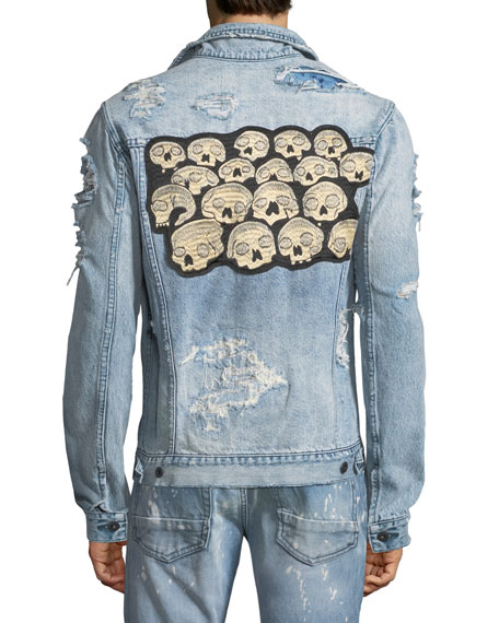 Distressed Denim Jacket with Skulls Appliqué
