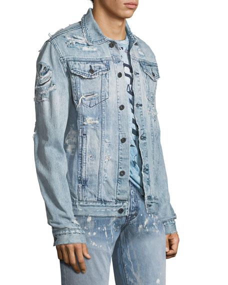Distressed Denim Jacket with Skulls Appliqué