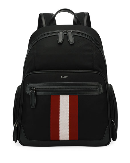 Striped Technical Backpack in Black