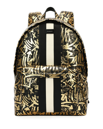 Hingis Graffiti-Print Leather Backpack