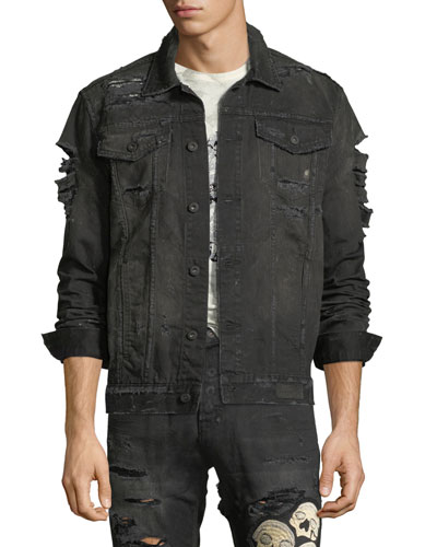 Distressed Skull Denim Jacket