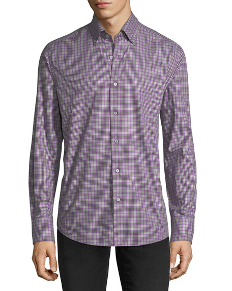 Flannel Check-Print Sport Shirt
