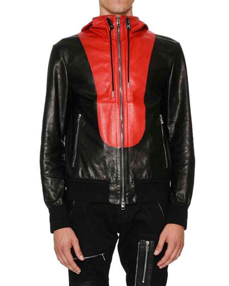 Calfskin Zip-Up Wind Jacket