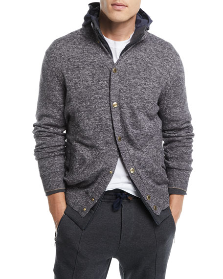 Brunello Cucinelli Button-Front Baseball Cardigan