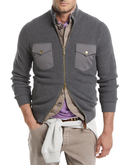 Ribbed Two-Way Zip-Front Cardigan