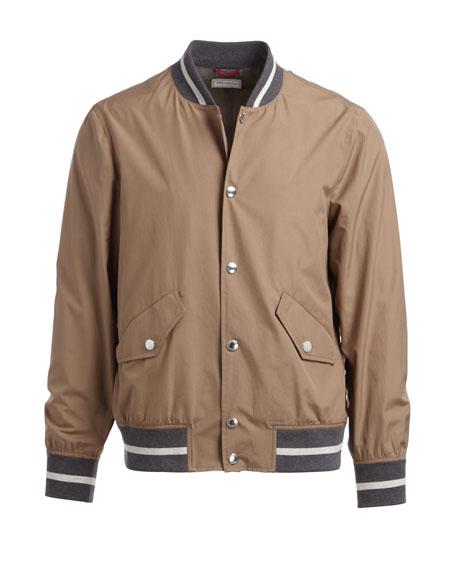 Contrast-Trim Cotton Bomber Jacket