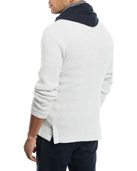 Shawl-Collar Button-Front Cardigan