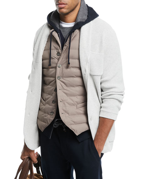 Brunello Cucinelli Shawl-Collar Button-Front Cardigan