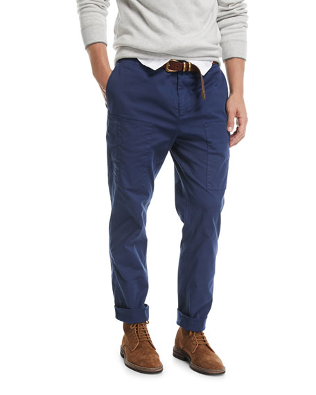Brunello Cucinelli Leisure-Fit Cargo Pants, Dark Blue