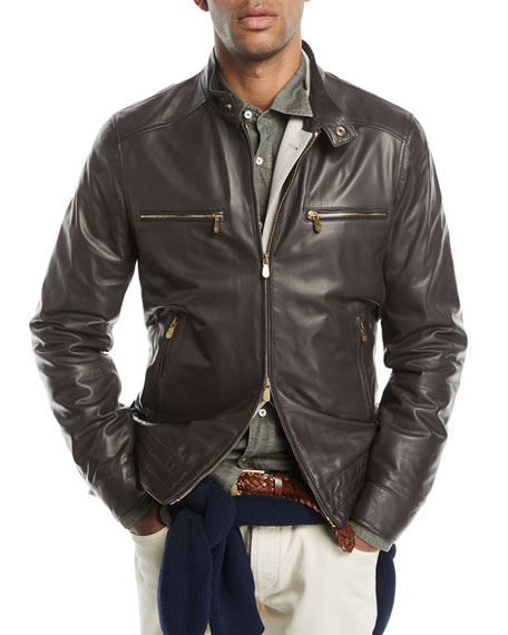 Leather Jacket with Zip Pockets and Matching Items