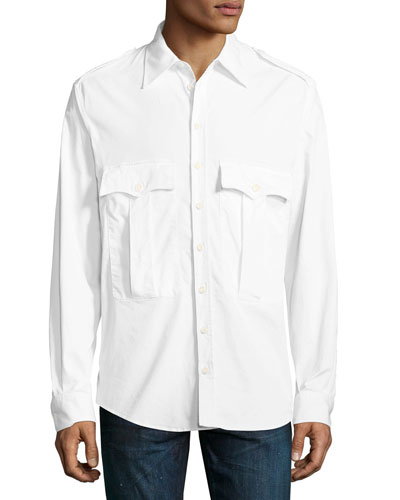 Double-Pocket Military-Style Shirt