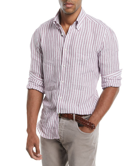 Brunello Cucinelli Linen Striped Sport Shirt