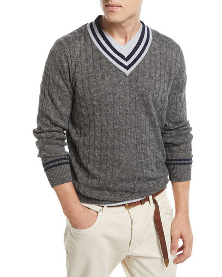 Brunello Cucinelli Cable-Knit Contrast-Trim Sweater