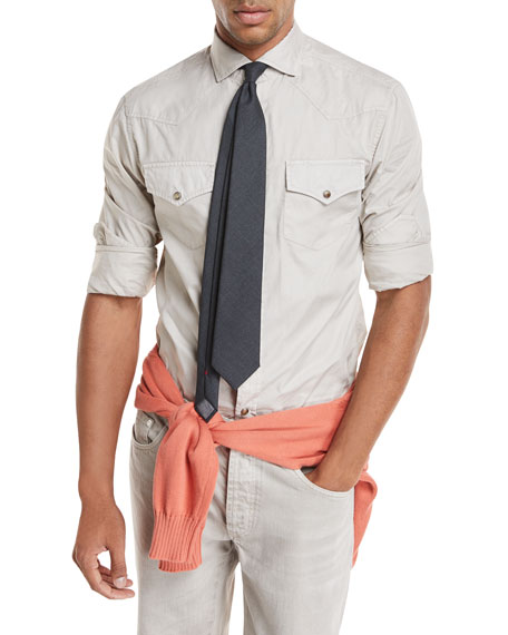 Brunello Cucinelli Oxford Western Style Shirt
