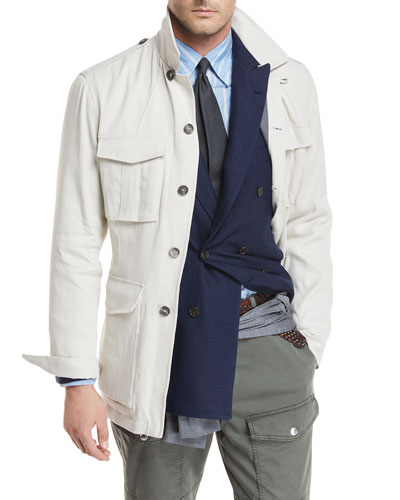 Button-Front Safari Jacket