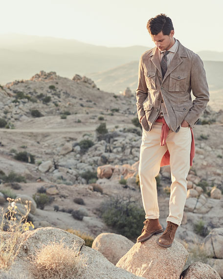 Suede Safari Jacket With Roll Tab Sleeves by Brunello Cucinelli