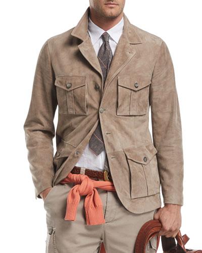 Suede Safari Jacket with Roll-Tab Sleeves