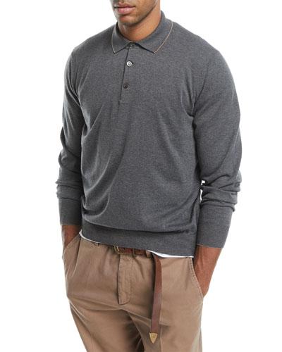 Long-Sleeve Polo Sweater