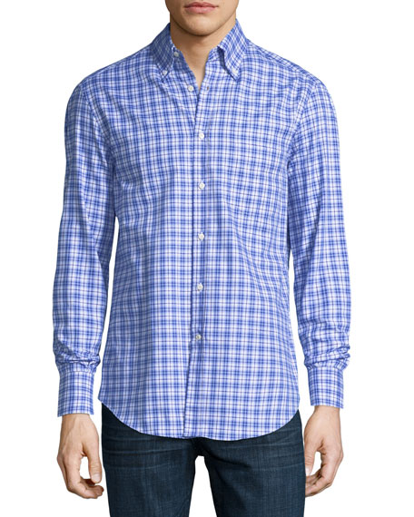 Brunello Cucinelli Panama Check Cotton Sport Shirt