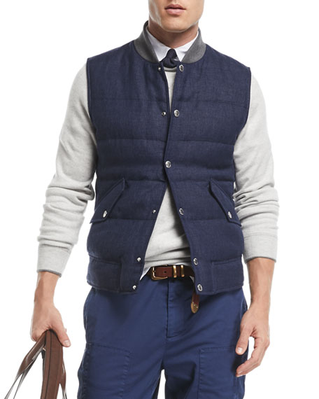 Brunello Cucinelli Quilted Linen/Wool Tweed Vest