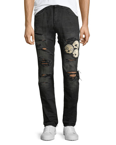 Le Sabre Distressed Jeans with Skull Applique