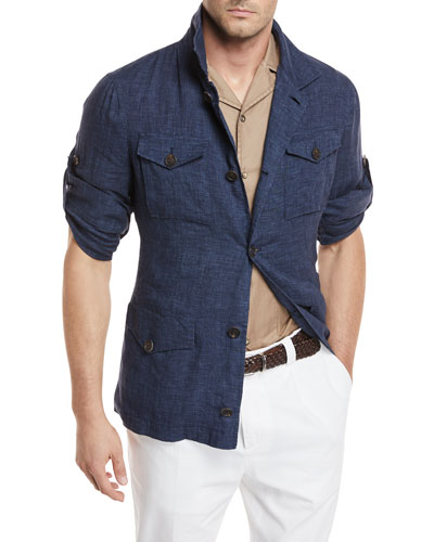 Linen Safari Button-Front Jacket
