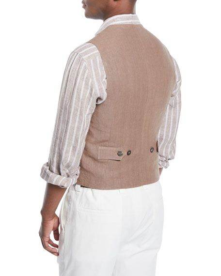 Men's Double-Breasted Linen Gilet-Style Vest