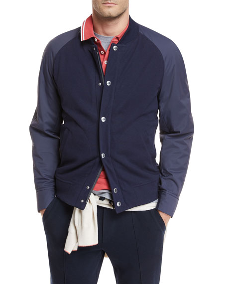 Contrast-Sleeve Baseball Jacket