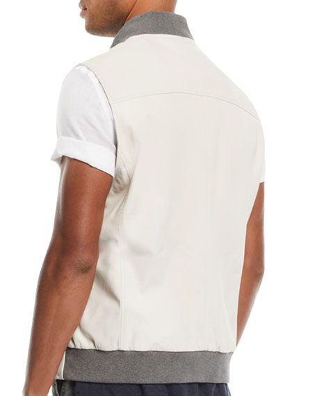 Men's Leather Vest with Contrast-Knit Collar